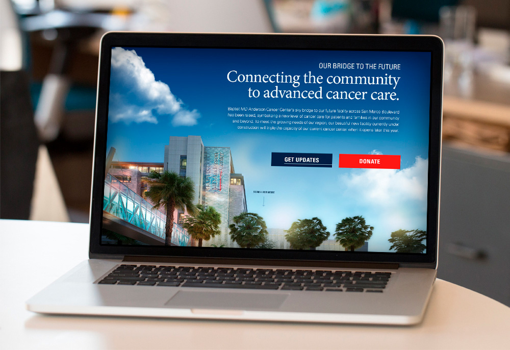 Baptist MD Anderson Landing Page on a Laptop