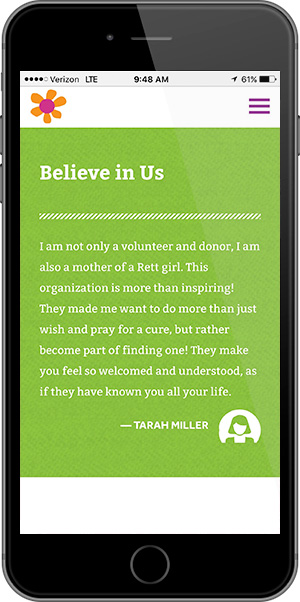 Believe in Us Mobile Page