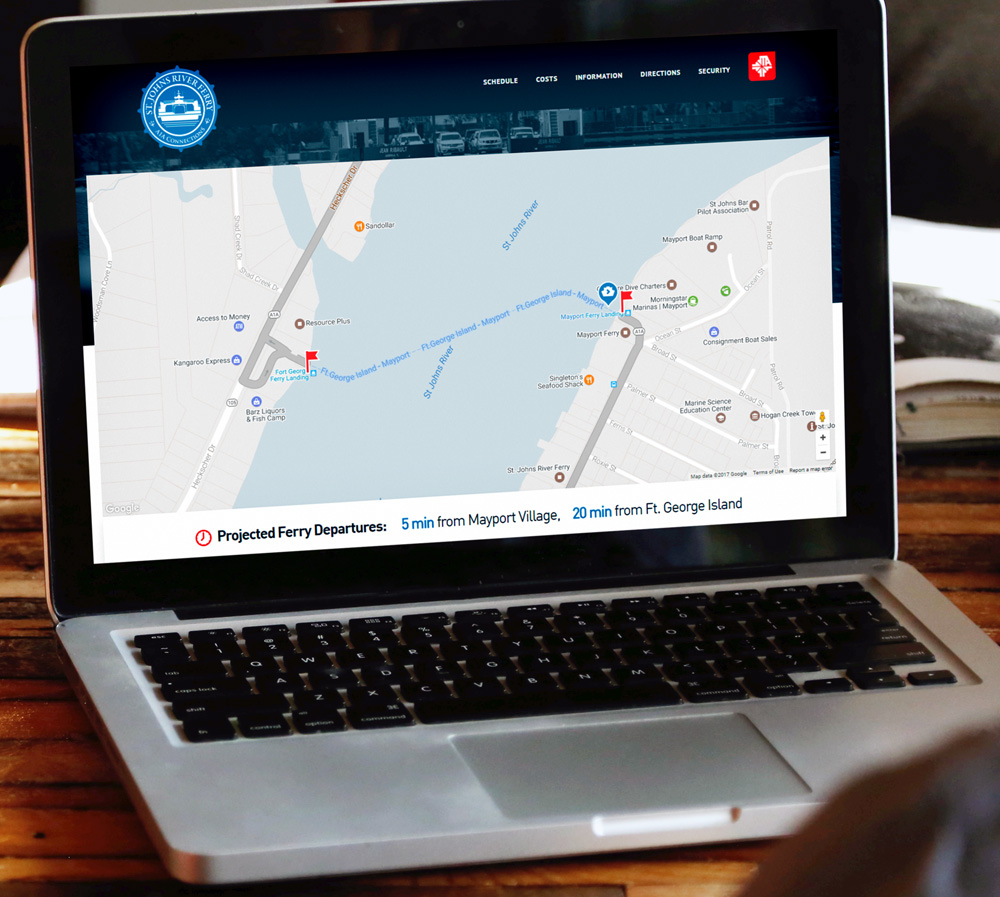 JTA Ferry Home Page Mockup