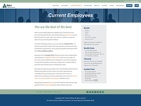 Select Staffing Current Employees Page