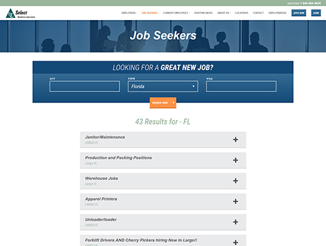 Select Staffing Job Seekers Page